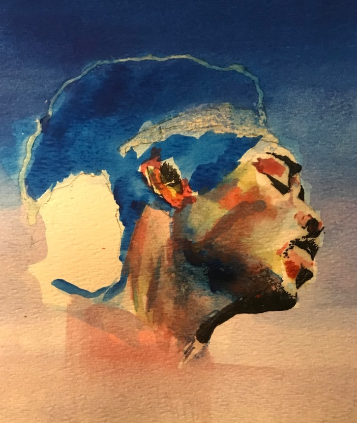 Jimi red and blue-with masking fluid